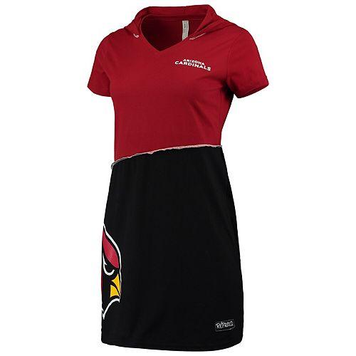Women's Refried Tees Cardinal/Black Arizona Cardinals Hooded Mini Dress