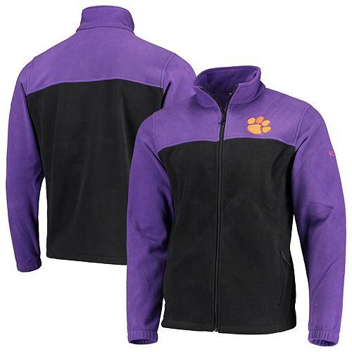 Men's Columbia Purple/Black Clemson Tigers Flanker III Fleece Team Full-Zip Jacket