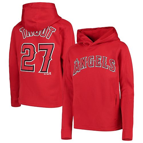 Youth Majestic Mike Trout Red Los Angeles Angels Player Name & Number Pullover Hoodie