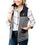 Women's Black Oklahoma State Cowboys Prep For It Herringbone Knit Full-Zip Vest