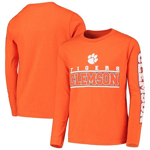Youth Orange Clemson Tigers Transition Two-Hit Long Sleeve T-Shirt