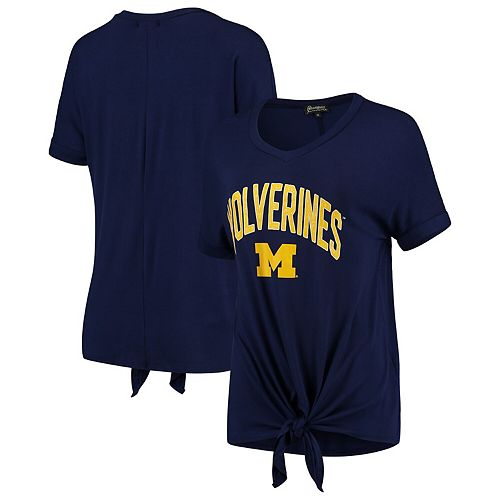 Women's Navy Michigan Wolverines On A Break V-Neck Knot T-Shirt