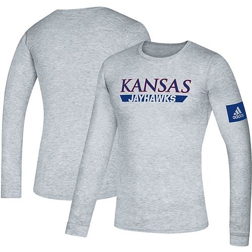 Men's adidas Gray Kansas Jayhawks 2019 Sideline Practice Creator climalite Long Sleeve T-Shirt