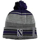 Men's Under Armour Gray/Purple Northwestern Wildcats Sideline Cuffed Knit Hat with Pom