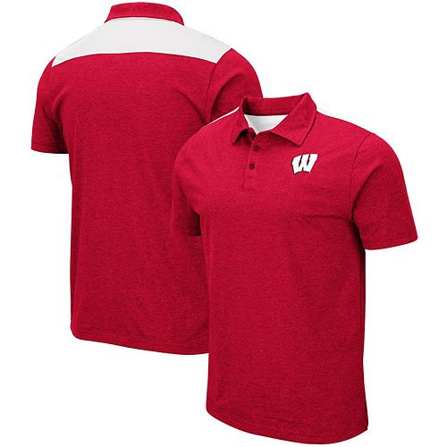 Men's Colosseum Heathered Red Wisconsin Badgers I Will Not Polo