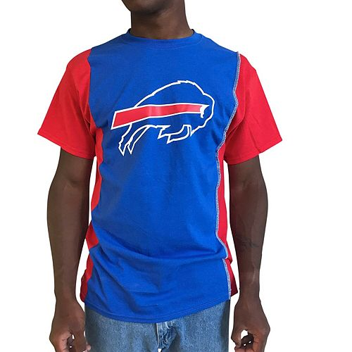 Men's Refried Apparel Royal/Red Buffalo Bills Upcycled Split T-Shirt