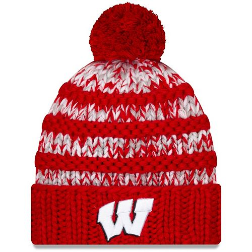 Women's New Era Red Wisconsin Badgers Layer Cuffed Knit Hat with Pom