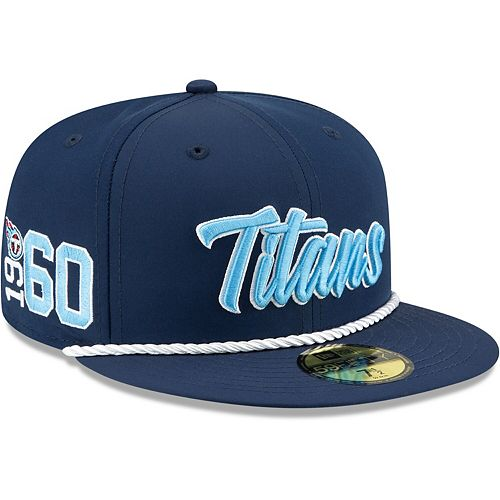 Men's New Era Navy Tennessee Titans 2019 NFL Sideline Home Official 59FIFTY 1960s Fitted Hat