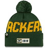 Youth New Era Green Green Bay Packers 2019 NFL Sideline Road Sport Knit Hat