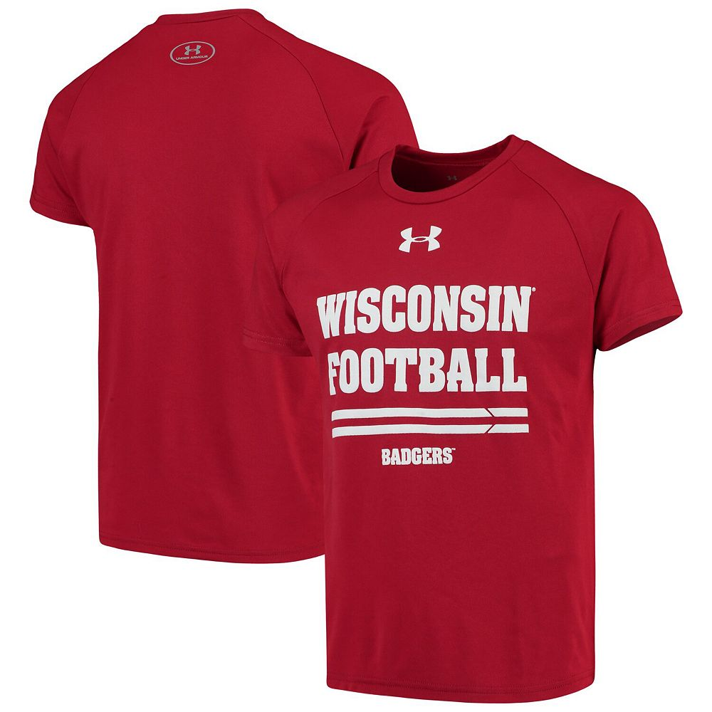 Youth Under Armour Red Wisconsin Badgers Football Tech T-Shirt