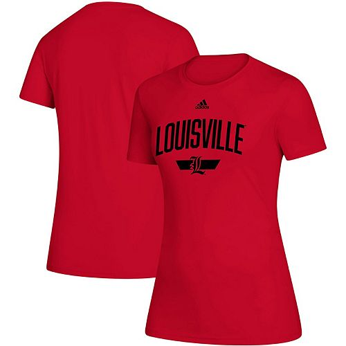 Women's adidas Red Louisville Cardinals Locker Arched T-Shirt