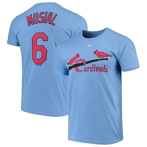 Men's Majestic Stan Musial Light Blue St. Louis Cardinals Cooperstown Collection Official Name & Number T-Shirt