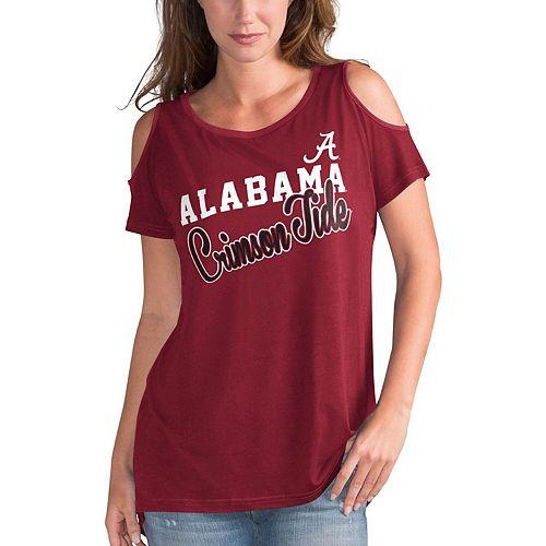 Women's G-III 4Her by Carl Banks Crimson Alabama Crimson Tide Clear the Bases Cold Shoulder T-Shirt
