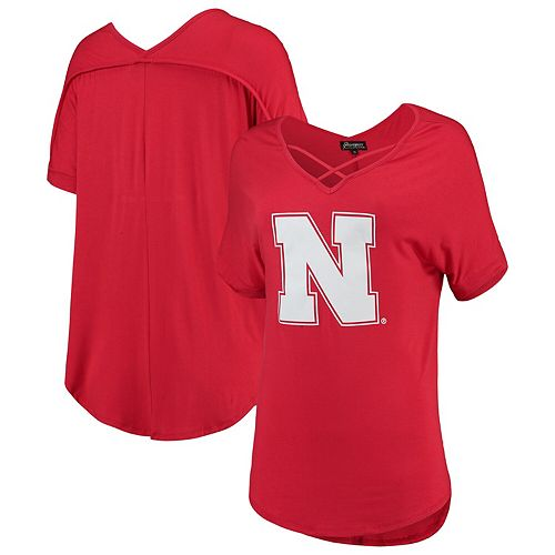 Women's Scarlet Nebraska Cornhuskers Goal Getter Cross Neck T-Shirt
