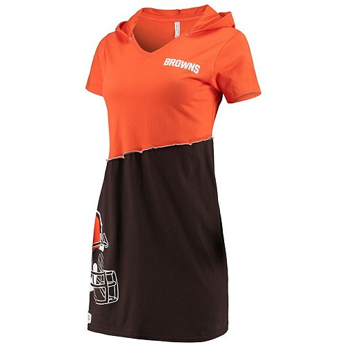 Women's Refried Tees Orange/Brown Cleveland Browns Hooded V-Neck Mini Dress