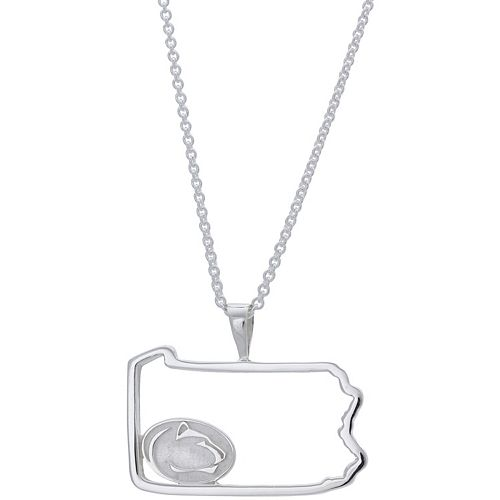 Women's Dayna Designs Silver Penn State Nittany Lions Team State Outline Necklace