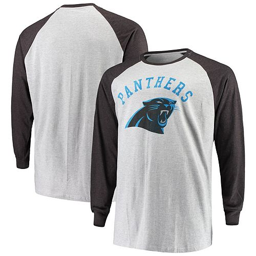 Men's Heathered Gray Carolina Panthers Big & Tall Contrast Raglan Long Sleeve T-Shirt