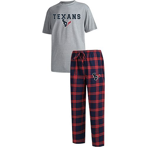 Men's Concepts Sport Navy/Heathered Gray Houston Texans Big & Tall Troupe T-Shirt & Pants Sleep Set