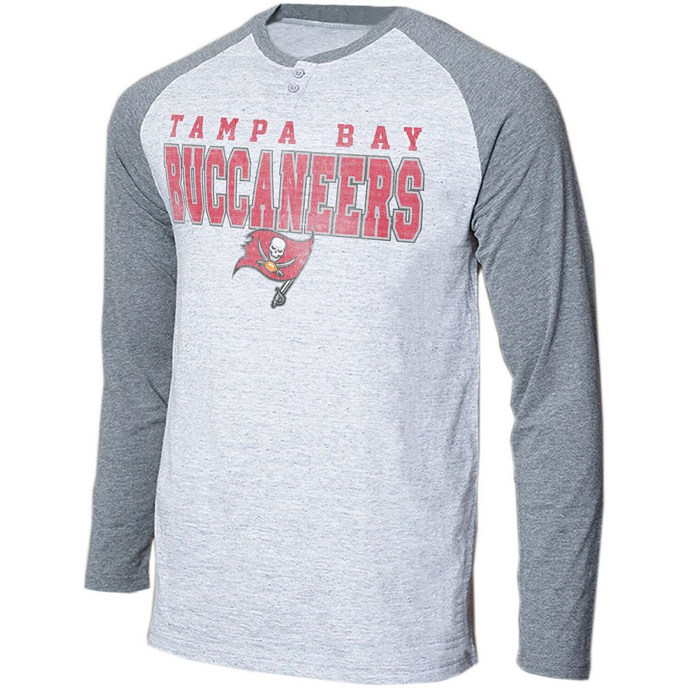 Men's Concepts Sport Heathered Gray/Heathered Charcoal Tampa Bay Buccaneers Hillstone Henley Raglan Long Sleeve T-Shirt