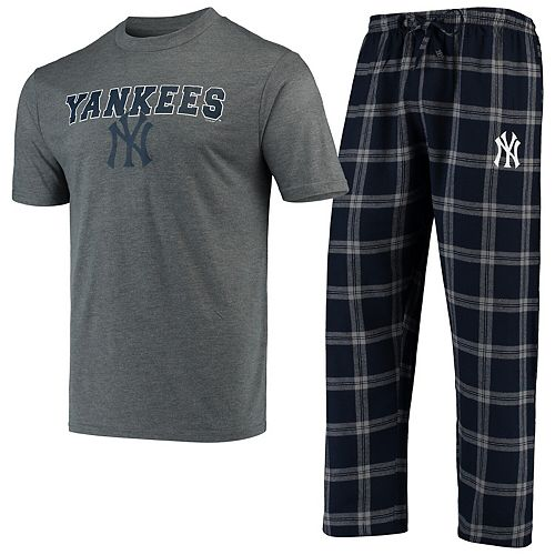 Men's Concepts Sport Navy/Gray New York Yankees Troupe T-Shirt & Pants Sleep Set