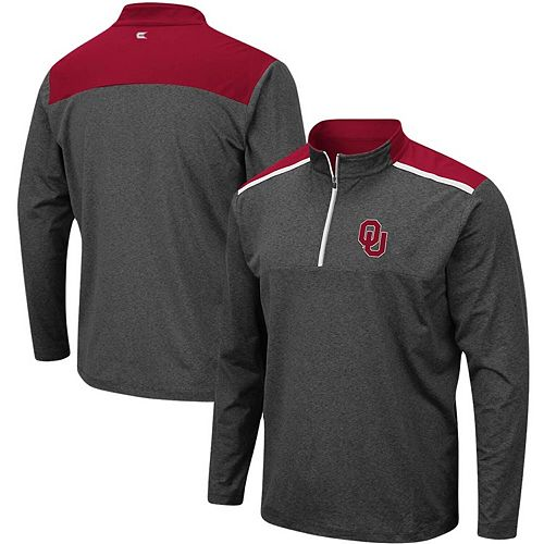 Men's Colosseum Heathered Charcoal Oklahoma Sooners Big & Tall Snowball Quarter-Zip Pullover Jacket