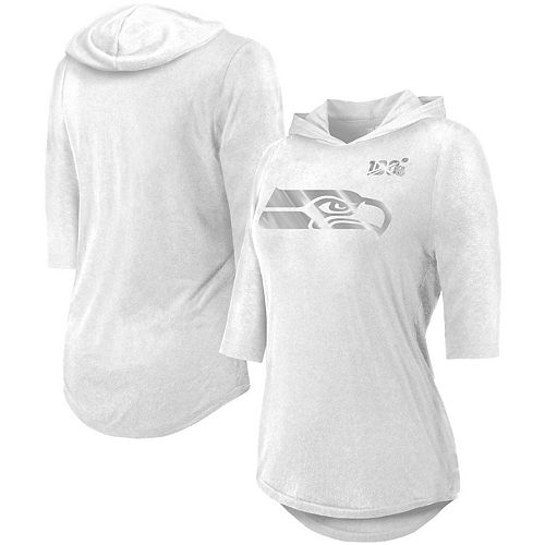 Women's Majestic Threads White Seattle Seahawks NFL 100th Season Platinum Hilo 3/4-Sleeve Hooded T-Shirt
