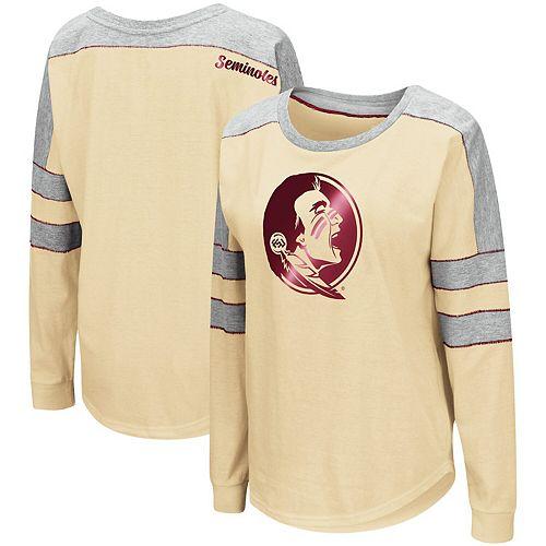 Women's Colosseum Gold Florida State Seminoles Trey Dolman Long Sleeve T-Shirt