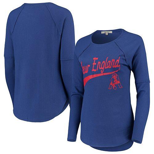 Women's Junk Food Royal New England Patriots Super Soft Thermal Long Sleeve T-Shirt