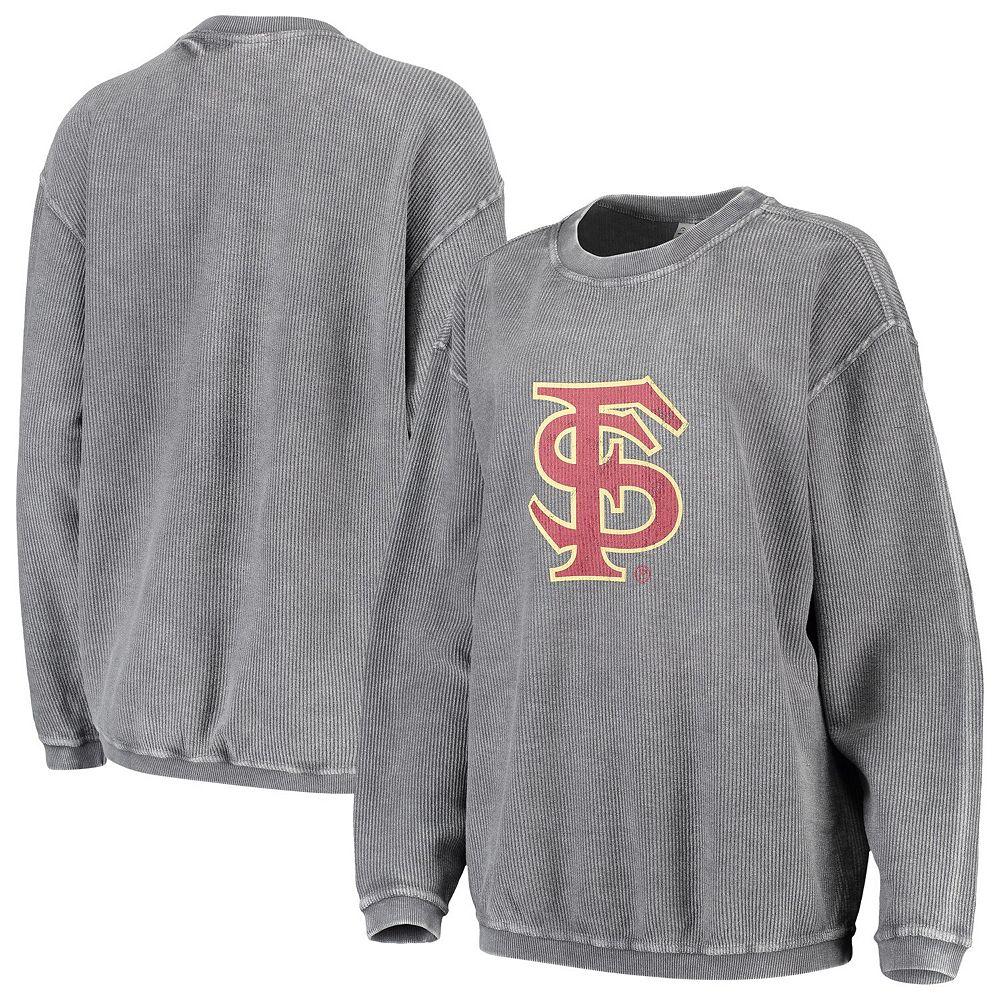 Women's chicka-d Charcoal Florida State Seminoles Corded Corduroy Crewneck Pullover Sweatshirt