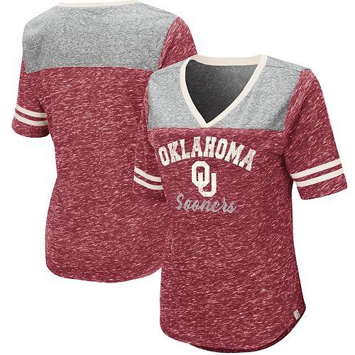 Women's Colosseum Heathered Crimson Oklahoma Sooners Mr. Big V-Neck T-Shirt