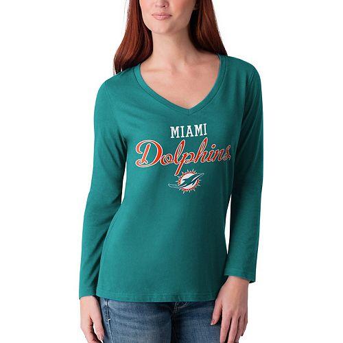 Women's G-III 4Her by Carl Banks Aqua Miami Dolphins Post Season Long Sleeve V-Neck T-Shirt