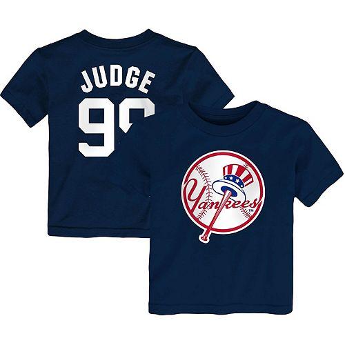 Toddler Majestic Aaron Judge Navy New York Yankees Player Cap Logo Name & Number T-Shirt