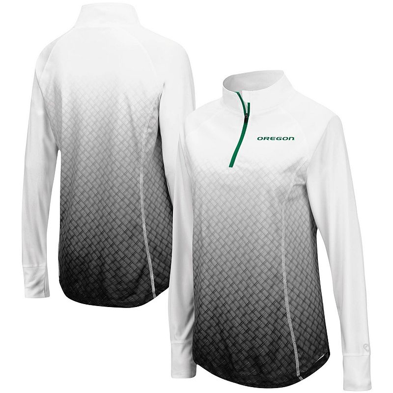 Women's Colosseum Black Oregon Ducks Magic Ombre Quarter-Zip Raglan Jacket, Size: 2XL