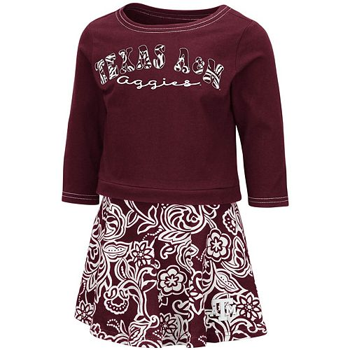 Girls Toddler Colosseum Maroon Texas A&M Aggies Birdie Long Sleeve T-Shirt and Skirt Set