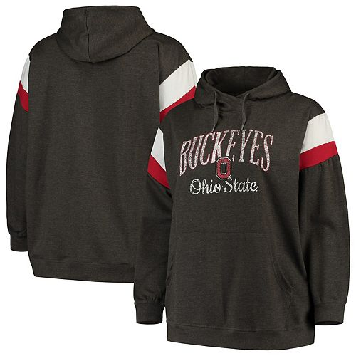 Women's Heathered Black Ohio State Buckeyes Plus Size Oceanview Burnout Wash Pullover Hoodie