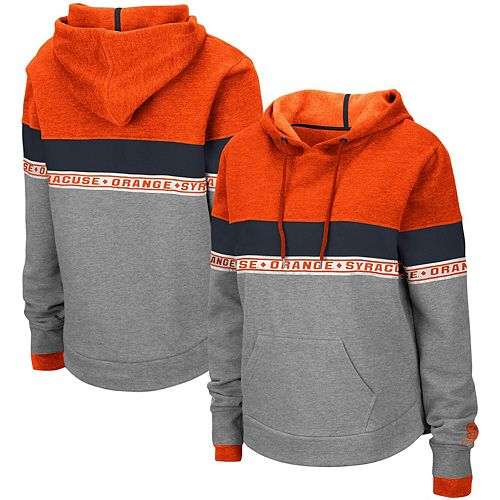 Women's Colosseum Heathered Gray Syracuse Orange Hobbes Woven Tape Pullover Hoodie