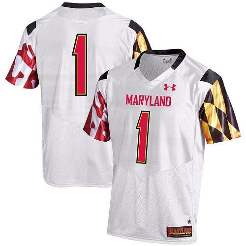 Men's Under Armour #1 White Maryland Terrapins Premier Football Jersey
