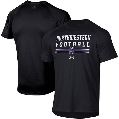 Men's Under Armour Black Northwestern Wildcats Football Wordmark Tech 2.0 Performance T-Shirt