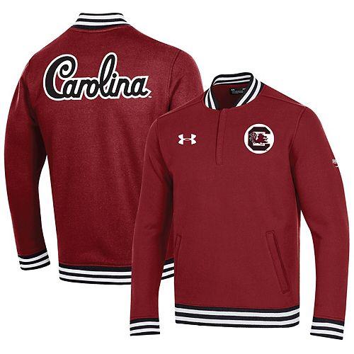 Men's Under Armour Garnet South Carolina Gamecocks College Football 150th Anniversary Double Knit Quarter-Zip Pullover Jacket