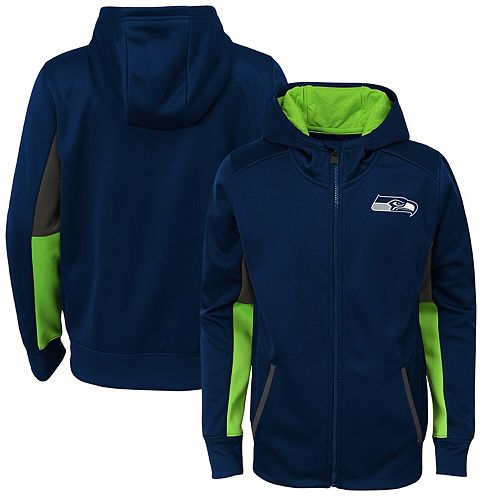 Youth College Navy Seattle Seahawks Connected Performance Full-Zip Hoodie