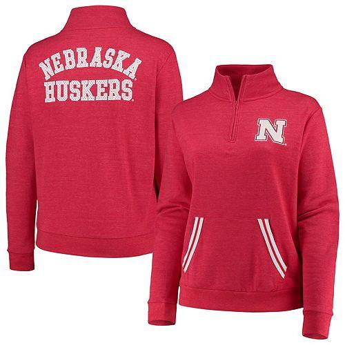 Women's 5th & Ocean by New Era Heathered Scarlet Nebraska Cornhuskers Plus Size Tri-Blend Fleece Quarter-Zip Sweatshirt