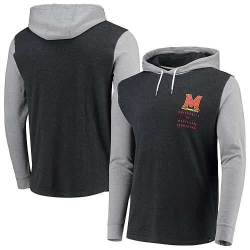 Men's Under Armour Black/Heathered Gray Maryland Terrapins Waffle Pullover Hoodie