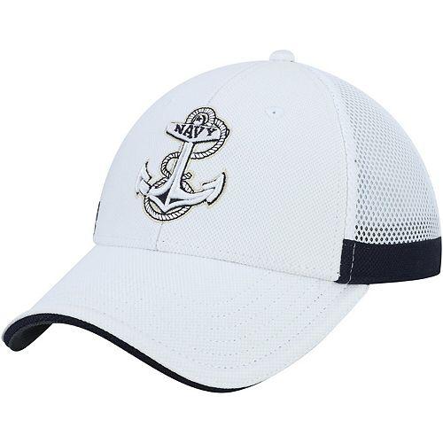 Men's Under Armour White Navy Midshipmen Team Logo Sideline Blitzing Accent Flex Hat
