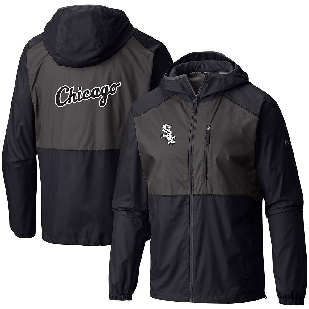 Men's Columbia Black Chicago White Sox Flash Forward Full-Zip Team Windbreaker Jacket