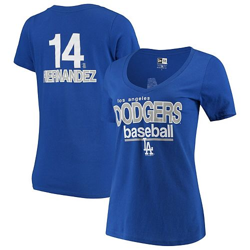 Enrique Hernandez Los Angeles Dodgers 5th & Ocean by New Era Women's Baby Jersey Flipped Number & Name V-Neck T-Shirt - Royal