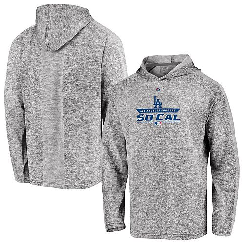 Men's Majestic Gray Los Angeles Dodgers Authentic Midseason Performance Pullover Hoodie
