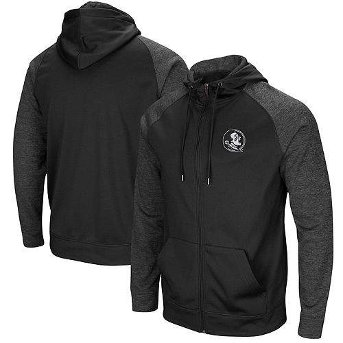 Men's Colosseum Black Florida State Seminoles Blackout 2.0 Raglan Full-Zip Hoodie