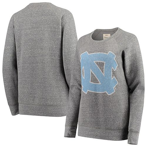 Women's Pressbox Heathered Gray North Carolina Tar Heels Big Team Logo Knobi Fleece Tri-Blend Crew Neck Sweatshirt