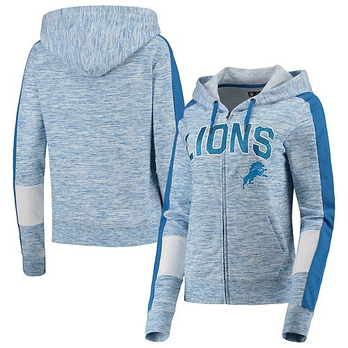 Women's New Era Blue Detroit Lions Athletic Space Dye French Terry Full-Zip Hoodie