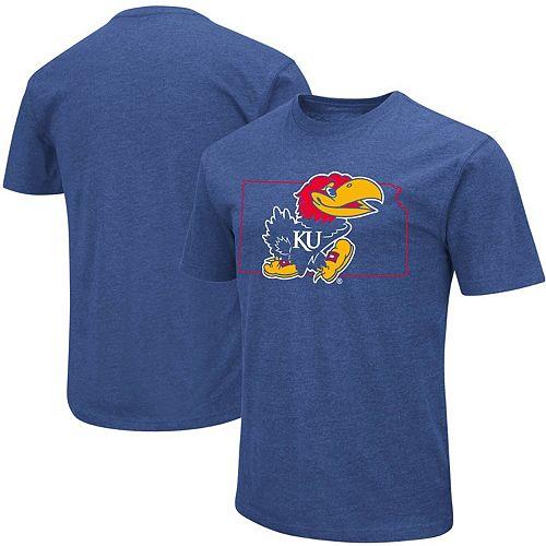 Men's Colosseum Royal Kansas Jayhawks State Outline T-Shirt
